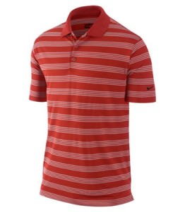 nike golf mens' tech core stripe polo red